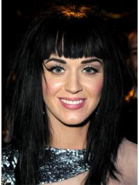 """17"""" Affordable Black Long Straight With Bangs Katy Perry Wigs"""