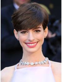 "Brown Cropped Straight Boycuts Capless 6"" Anne Hathaway Wigs"