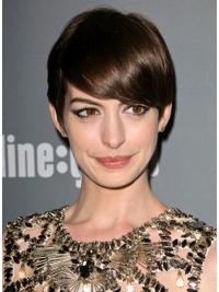 "Brown Cropped Straight Boycuts Lace Front 6"" Anne Hathaway Wigs"