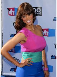 """Auburn Wavy With Bangs Full Lace 18"""" Hairstyles Tyra Banks Wigs"""