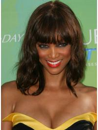 "Auburn Wavy With Bangs Capless 14"" Top Tyra Banks Wigs"