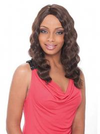Long Brown Wavy Without Bangs Ideal African American Wigs
