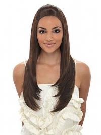 Long Brown Straight Without Bangs Fashionable African American Wigs