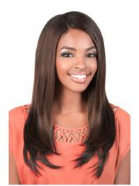 Affordable Brown Long Yaki U Part Wigs