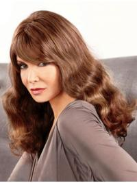 """Long Wavy With Bangs Lace Front Brown Hairstyles 18"""" Jaclyn Smith Wigs"""