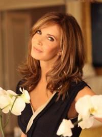 """Shoulder Length Wavy Layered Lace Front Brown Trendy 14"""" Jaclyn Smith Wigs"""