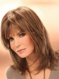 "Shoulder Length Straight Layered Lace Front Brown Soft 14"" Jaclyn Smith Wigs"