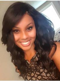 """17"""" With Bangs Remy Human Hair Black Wavy 360 Lace Wigs"""