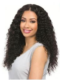 "Curly Black 18"" Without Bangs Remy Human Hair 360 Lace Wigs"