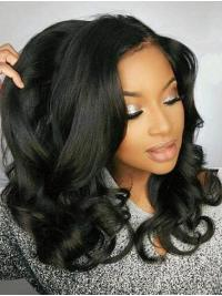 "Remy Human Hair Black Wavy 18"" Without Bangs 360 Lace Wigs"
