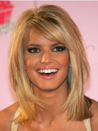 "12"" Stylish Blonde Shoulder Length Straight Bobs Jessica Simpson Wigs"