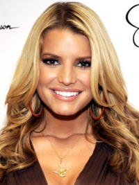 """16"""" Trendy Blonde Long Wavy Without Bangs Jessica Simpson Wigs"""