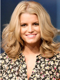 """12"""" Comfortable Blonde Shoulder Length Wavy Without Bangs Jessica Simpson Wigs"""