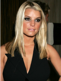 Straight Lace Front Without Bangs Long Blonde Suitable Jessica Simpson Wigs