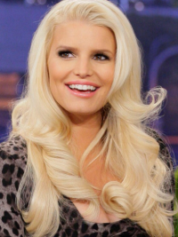 Wavy 100% Hand-tied Layered Long Blonde Affordable Jessica Simpson Wigs
