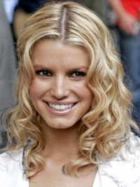 Wavy Lace Front Layered Shoulder Length Blonde Sassy Jessica Simpson Wigs