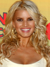 Wavy Lace Front Layered Long Blonde Beautiful Jessica Simpson Wigs