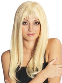 Blonde Long Fabulous Straight With Bangs Lace Wigs