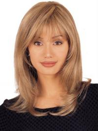 Straight Human Hair Lace Wigs Shoulder Length Blonde Color Layered Cut
