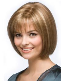 Blonde Bob Wig Chin Length Remy Human Capless Straight Style