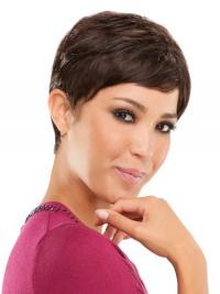 Silky Straight Human Hair Lace Wigs Brown Color Cropped Length Boycuts