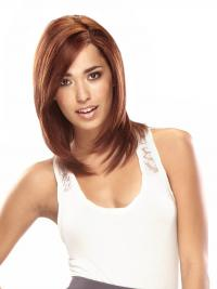 Auburn Shoulder Length Good Straight Layered Lace Wigs