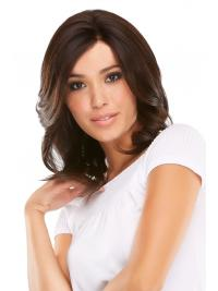 Mono Wigs Human Hair Shoulder Length Auburn Color Layered Cut