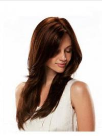 Human Hair Wigs Full Wig Long Length Straight Style Auburn Color