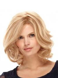 "14"" Blonde Layered Shoulder Wavy Synthetic Ladies Monofilament"