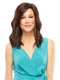 Wavy Layered Shoulder Length Brown Beautiful Lace Front Wigs