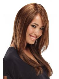 Perfect Brown Long With Bangs Straight Glueless Lace Front Wigs