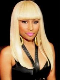 "18"" Blonde Straight With Bangs Long No-Fuss Nicki Minaj Wigs"