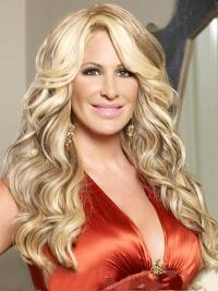"Sleek 16"" Long Wavy With Bangs Capless Kim Zolciak Wigs"