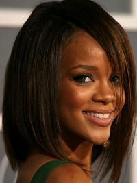 Rihanna Wig UK With Capless Bobs Cut Shoulder Length Brown Color