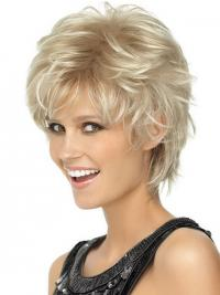 Ladies Blonde Wigs Wavy Style Short Length Blonde Color