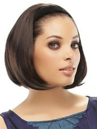 Brazilian Brown Straight Chin Length Half A Wig