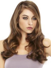 Long Wavy Auburn Sassy Remy Human Hair Half Wigs