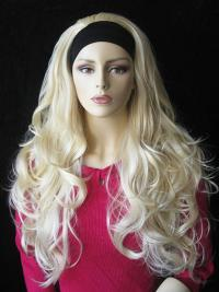 Long Wavy Blonde Natural Synthetic Half Wigs