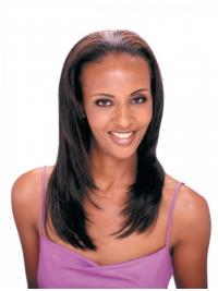 Long Straight Brown Suitable Indian Remy Hair Half Wigs