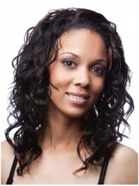 Curly Brazilian Remy Hair Black Shoulder Length Amazing 3/4 Wigs
