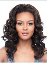 Wavy Brazilian Remy Hair Brown Shoulder Length Flexibility 3/4 Wigs