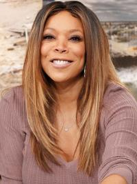 Remy Human Ombre/2 Lace Front Long Straight Get Wendy Williams Wigs