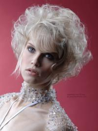 "Monofilament Grey Short Curly 10"" Platinum Blonde Perfect Fashion Wigs"