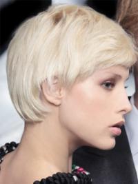 "Monofilament Boycuts Short Straight 8"" Platinum Blonde Incredible Fashion Wigs"