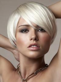 """Capless Bobs Short Straight 8"""" Platinum Blonde Online Fashion Wigs"""