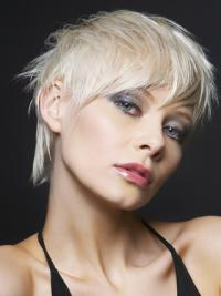 """Lace Front Boycuts Short Straight 8"""" Platinum Blonde Ideal Fashion Wigs"""