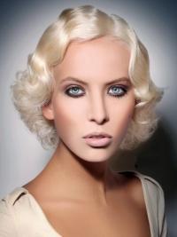 "Lace Front Layered Chin Length Wavy 10"" Platinum Blonde Fashionable Fashion Wigs"