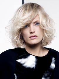 "Lace Front Layered Chin Length Wavy 12"" Platinum Blonde Fashion Fashion Wigs"