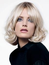 """Lace Front Layered Chin Length Wavy 12"""" Platinum Blonde Popular Fashion Wigs"""