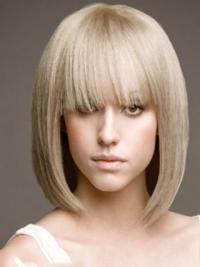 "Full Lace Bobs Chin Length Straight 12"" Platinum Blonde Beautiful Fashion Wigs"
